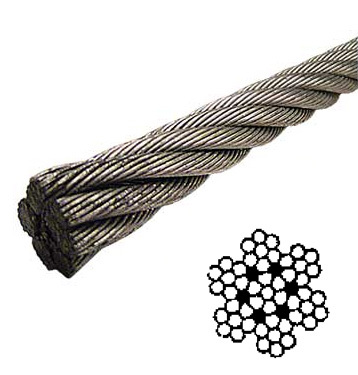 7 x 7 / 7 x 19 Galvanized -  - 7 x 7 Galvanized Aircraft Cable