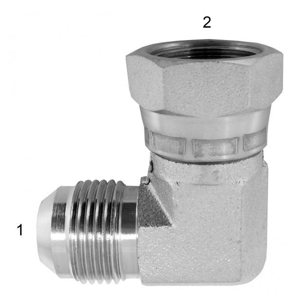 Metric Adapters -  - 90° Male JIC by Female BSPP Swivel
