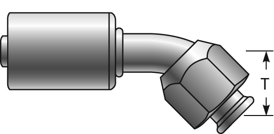 Polar Seal Couplings - Gates - Female SAE 45° Flare Swivel - 45° Bent Tube