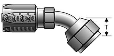 Reusable Couplings - Gates - Dual Seat Female JIC & SAE (45° Flare) Swivel - 45° Bent Tube for C5 Hose