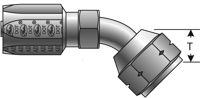 Reusable Couplings - Gates - Female SAE (45° Flare) Swivel - 45° Bent Tube for C5 Hose