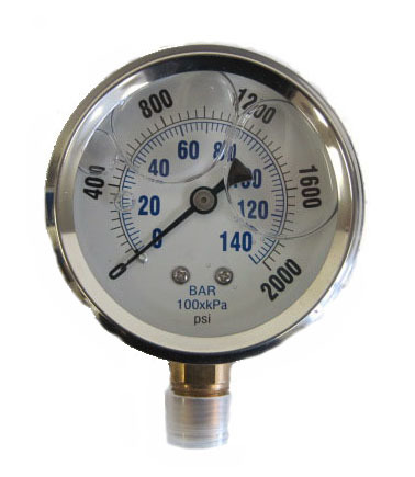 Pressure Gauges - Prince - Liquid-Filled Pressure Gauges - Bottom Stem